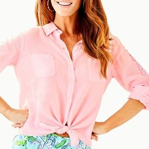 Lilly Pulitzer Sea View Linen Top Pink Tro…